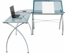 Madison clear glass computer desk drafting table with parallel bar Architect Art