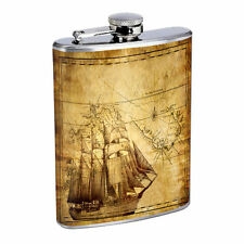 Vintage Pirate Ship D5 Flask 8oz Stainless Steel Hip Drinking Whiskey