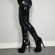 Womens Rivet Thigh-high Boots Patent Leather High Heels Round Toe Platform Shoes