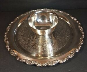 """Vintage Oneida Royal Provincial Silverplated 12"""" Round Cocktail/Chips & Dip Tray"""