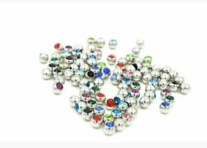2x replacement gem balls 16g 3mm labret monroe tragus lip Lobe Cartlidge