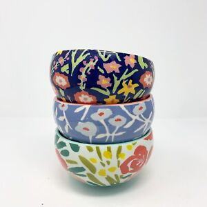 Anthropologie Bowl Painted Poppies Leah GorenCereal Blue Coral Red Sold Out