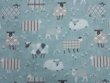 Baa Baa Sheep Duck Egg Curtain Craft Upholstery Designer Fabric