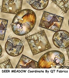 Deer Meadow Vignette Tossed Tan Block Cotton Quilt Fabric by Quilting Treasures