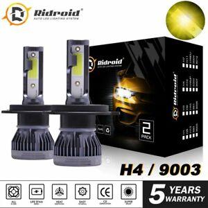 MINI 9003 H4 LED Headlight Bulbs Hi-Lo Beam 120W 3000K Yellow Conversion Kit