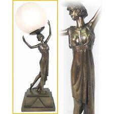 ART DECO/NOUVEAU TABLE LAMP 54CM ROMAN LADY BRONZE FINISH FIGURINE GLASS SHADE