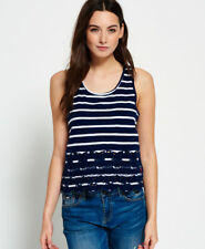 New Womens Superdry Shore Broderie Shell Top Navy