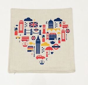 I Love London Themed Colourful Art Square Cushion Cover Home/Office/Sofa/Couch
