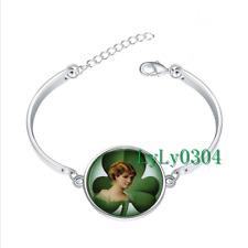 Irish Lass with Clover glass cabochon Tibet silver bangle bracelets wholesale
