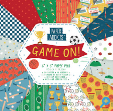 GAME ON - 6x6 Paper Pad - 30 Sheets - Paper Addicts - 100gsm - SPORTS