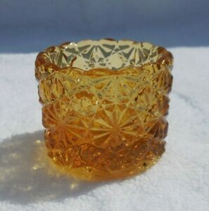 Individual Amber Salt Dip Button and Daisy Wright Glass LG Round