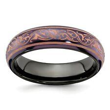Black Ti Titanium 6mm Copper Anodized Laser Etch Domed Wedding Band Sizes 5 - 10