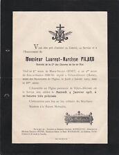 T86 Ancien faire part décès 1913  Laurent Narcisse PILARD a VILLERS ALLERAND 51