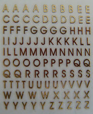 Nail Art 3D Sticker Metal like Goldtone Alphabet Letters A-Z 105 stickers