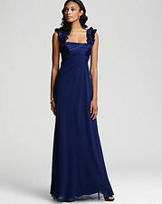 Hoaglund Light Navy Formal Gown Dress Pleated Silk Size 10 NWT $430
