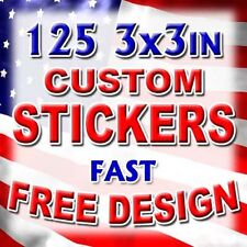 125 3x3 Custom Printed Full Color Outdoor Vinyl Car Bumper Stickers Decal Label