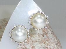 Ohrringe 585 Gold Diamanten 0,28 riesige Mabe-Perlen Weißgold Clip-Verschluss