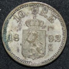 More details for 1892   norway 10 ore   silver   coins   km coins