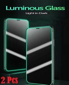 2 Pcs Luminous Tempered Glass iPhone 12 Pro Max 11 XS SE XR 7 8 Screen Protector