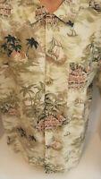 Pusser's West Indies Mens Shirt Size Medium Floral Hawaiian Tiki Huts Print