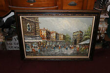 Impressionist Oil Painting Paris Street Signed Kressley-Cityscape People-Large
