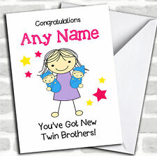 Big Sister Congratulations New Baby Twin Brothers Boys Sibling Personalised Card