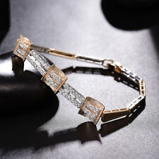 "Bracelet Multi-Tone Gold Chain 7.5"" Huche Simulated Diamond White Topaz Party"