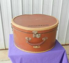 Hat Box Travel Case Leather Cardboard Key Brown Circa 1940's Wonderful Vintage