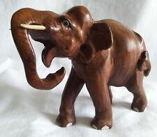 Vintage Hand carved Dark Wood Elephant
