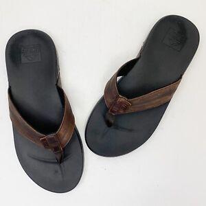 REEF Cushion Phantom LE Brown Leather Flip Flops - Men's Size 11