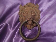 Vintage Antique Cast Iron Metal Stylized Lion's Head Face Door Knocker