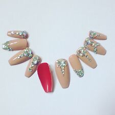 Hand Painted False Nails Nude Diamonds & Red Square Coffin Full Cover Tips