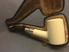 Smooth poker  PIPE w silver band-BLOCK MEERSCHAUM-NEW-HAND CARVED W Case Tamper
