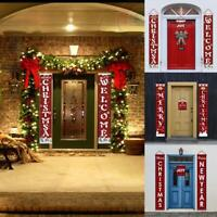Merry Christmas Porch Banner Wall Hanging Door Curtain Home Party Xmas Decor Red