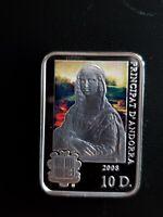 2008 Silver Proof Andorra 10 Dinars Da Vinci