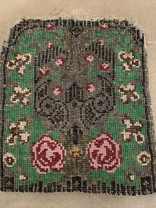 Antique Vintage Victorian Micro Beaded Purse Bag For RepairFrance