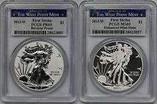 2013-W Silver Eagle Set Reverse PR 69 + MS 69 PCGS West Point Mint First Srike