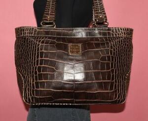 DOONEY & BOURKE LEXINGTON Dark Brown Embossed Leather Shoulder Tote Purse Bag