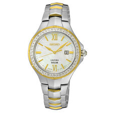 New Seiko SUT240 Solar MOP Diamond Two Tone Stainless Steel Ladies Watch