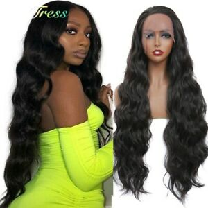 24inch Synthetic hair Lace front wigs Daily use Long Curly Wavy Black