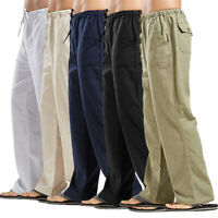 KQ_ Men Casual Solid Long Pants Drawstring Pockets Straight Loose Trousers Charm