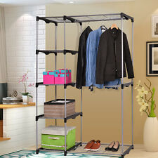 Closet Organizer Storage Rack Portable Wardrobe Garment Hanger Double Rod Shelf