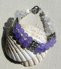 "Alexandrite & Clear Quartz Crystal Gemstone Beaded Bracelet ""Lilac Cloud"""