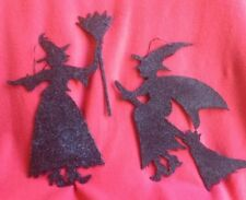 Bethany Lowe Glittered Silhouette Witches--Set of 2--retired
