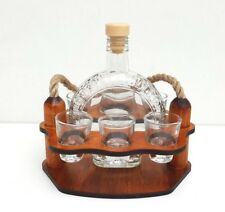 Wooden stand with Round bottle and  6 shot glasses home decoration