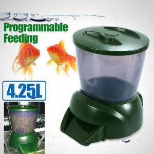 4.5L Automatic Pond Fish Feeder Digital Tank Pond Fish Food Dispenser Timer AU