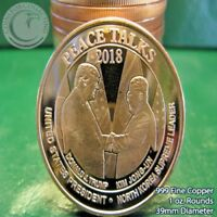 "Copper Round coin   /""HAND SHAKE/""   New reverse 2018 TRUMP  /&  KIM  1 oz"