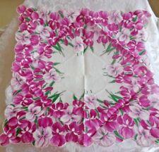 Pretty Vintage Shades of Pink Iris Flower Design Handkerchief