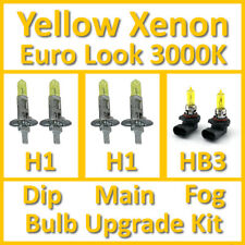 Warm White 3000K Yellow Xenon Headlight Bulb Set Main Dip Fog H1 H1 HB3 Kit