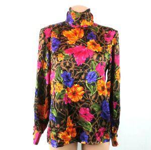 VTG Rickie Freeman Silk Blouse Floral Turtleneck Button Flounce Sleeve Teri Jon